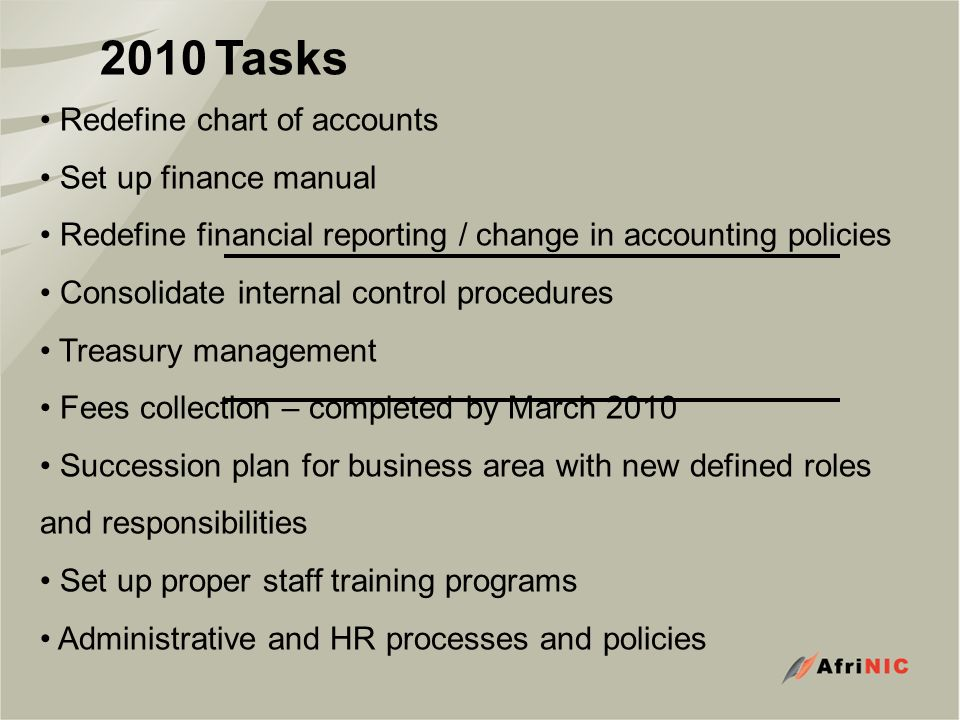 2010 Tasks Redefine chart of accounts Set up finance manual Redefine financial reporting / change in accounting policies Consolidate internal control