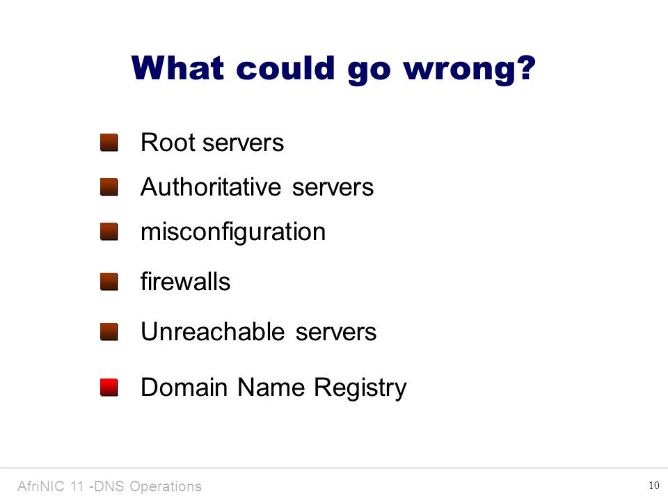 10 AfriNIC 11 -DNS Operations What could go wrong? Root servers misconfiguration firewalls Authoritative servers Domain Name Registry Unreachable serv