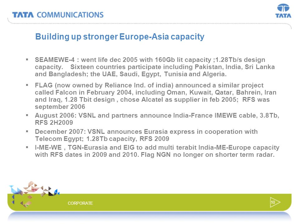 9 CORPORATE Central Asian build-out April 2002: RFS for i2i; 8.12Tb capacity; 160Gb lit, 50% Bharti 50% Singtel owned Feb 2004: VSNL and Asia Netcom a