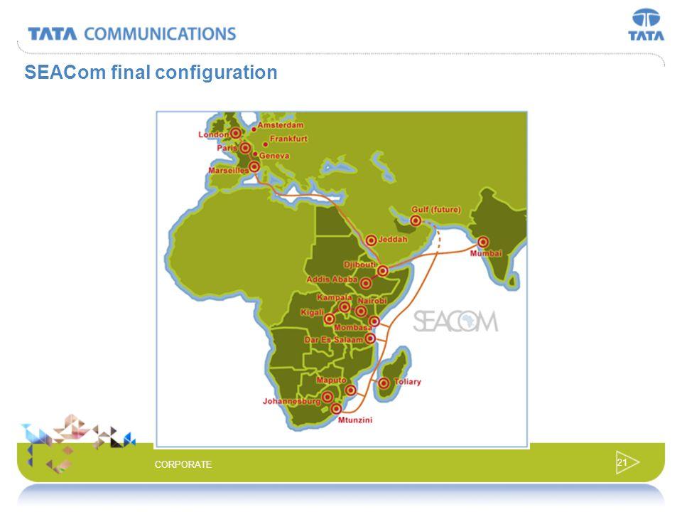 20 CORPORATE SEACom Cable System Length: 13,000km Cable Locations: South Africa (Mtunzini) Mozambique (Maputo) Madagascar (Toliary), Tanzania (Dar es