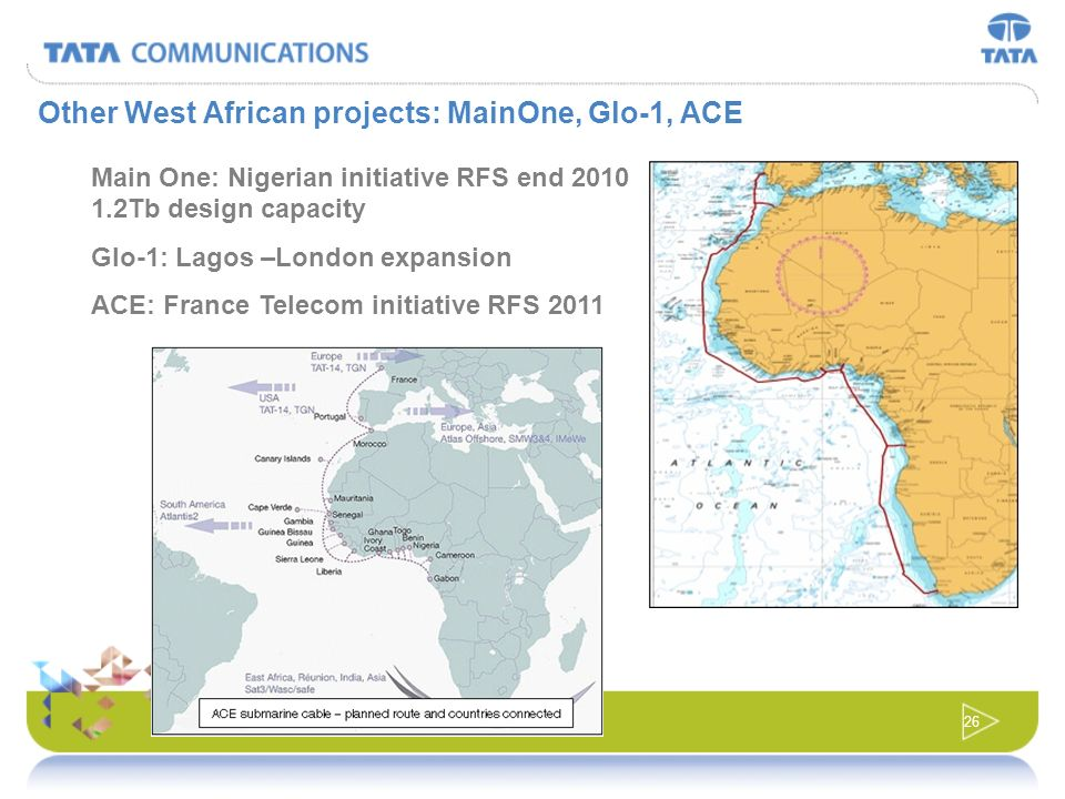 25 CORPORATE And on the African West Coast : WACS is going forward The 14,000km submarine cable will run from Cape Town to the UK with landings in Nam