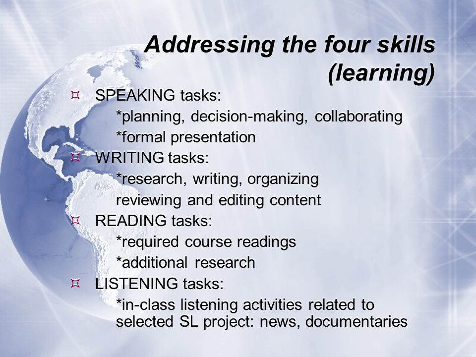 Addressing the four skills (learning) SPEAKING tasks: *planning, decision-making, collaborating *formal presentation WRITING tasks: *research, writing