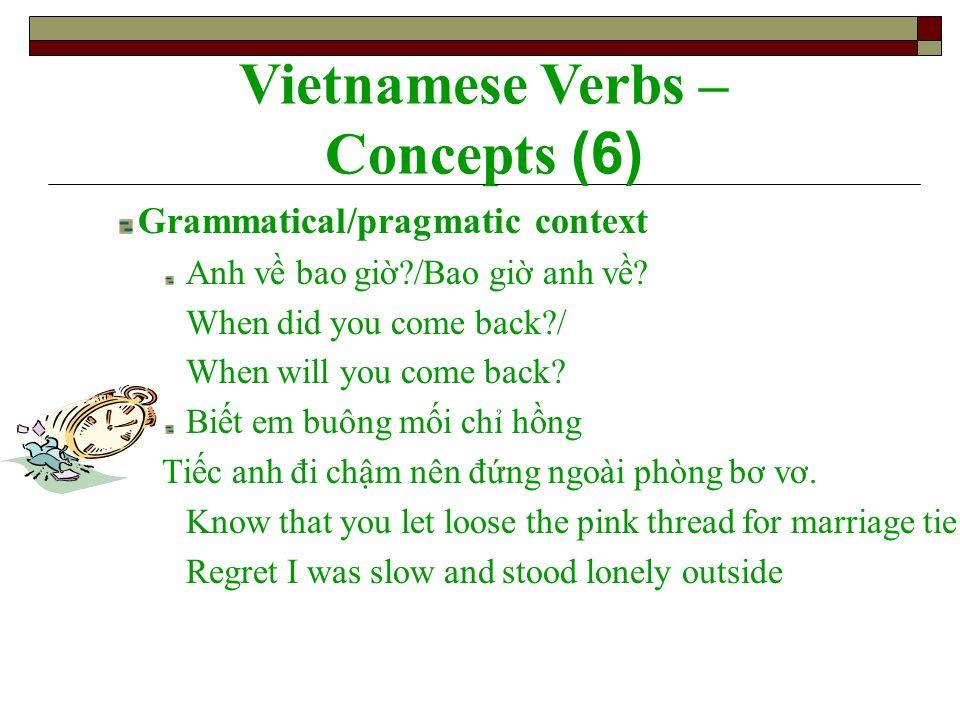 Grammatical/pragmatic context Anh v bao gi?/Bao gi anh v? When did you come back?/ When will you come back? Bit em buông mi ch hng Tic anh đi chm nên