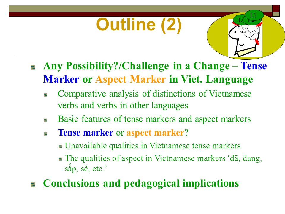 Outline (2) L1L2 L3 Any Possibility /Challenge in a Change – Tense Marker or Aspect Marker in Viet.