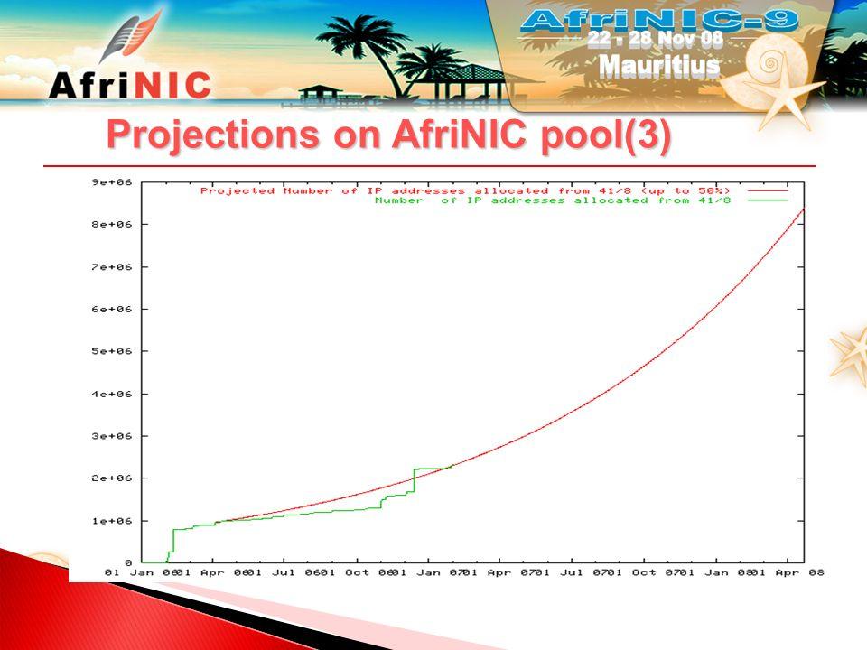 Projections on AfriNIC pool(4) IANA pool exhaustion before July 2011 AfriNIC pool exhaustion by 11 August 2011 http://www.afrinic.net/news/ipv4_exhaustion.htm Projections and possible actions and solutions