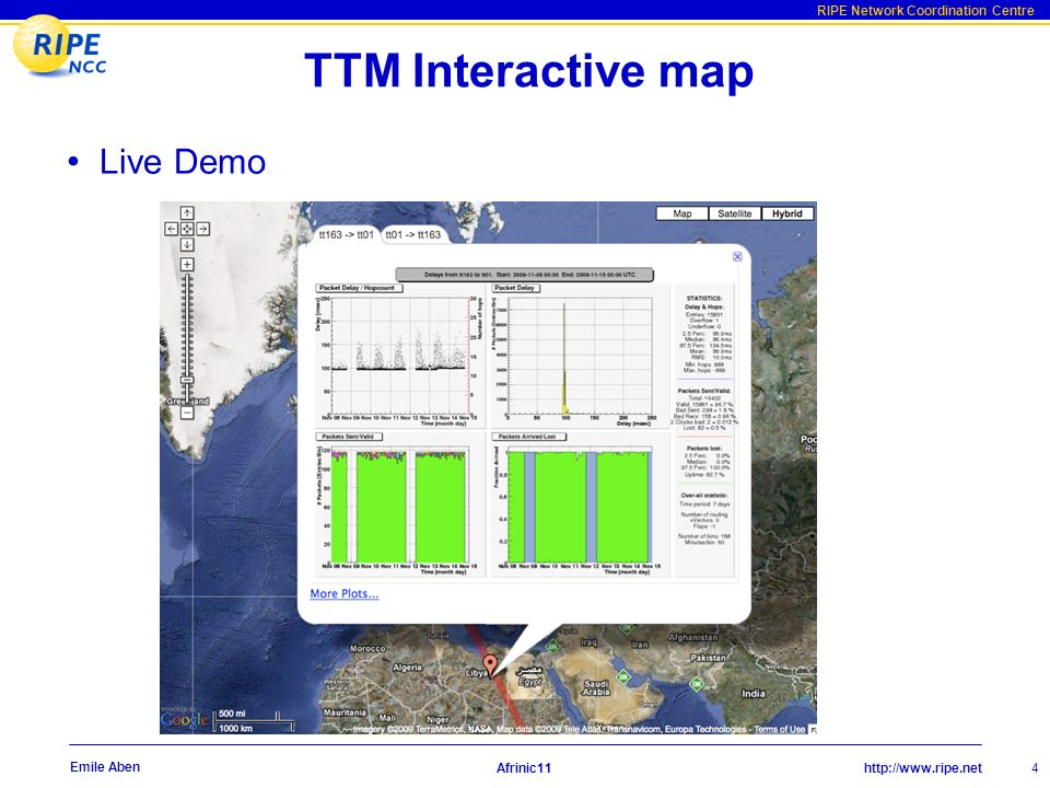 http://www.ripe.net RIPE Network Coordination Centre Afrinic11 5 Emile Aben NetSense User-friendly interface to measurements Combines TTM, RIS and RIPE DB data Up-to-date global and per-AS/prefix information