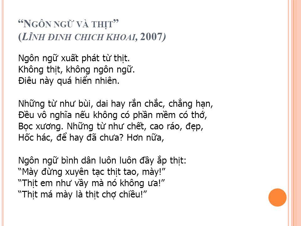 N GÔN NG V À TH T ( L ĨNH Đ INH CHICH KHOAI, 2007 ) Ngôn ng xut phát t tht.