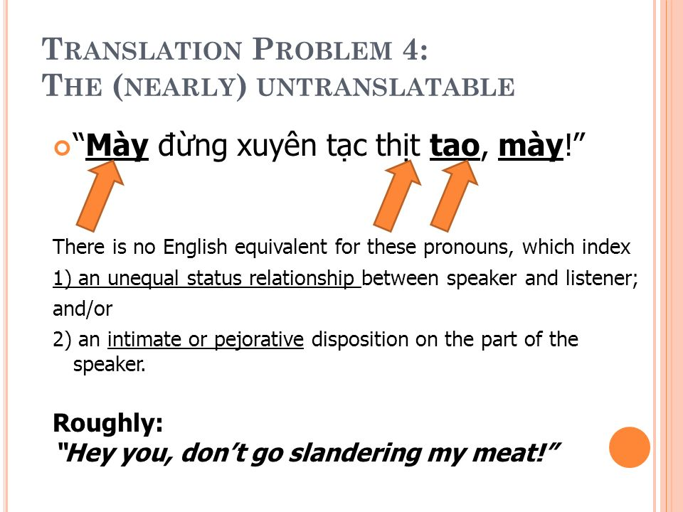 T RANSLATION P ROBLEM 4: T HE ( NEARLY ) UNTRANSLATABLE Mày đng xuyên tc tht tao, mày.