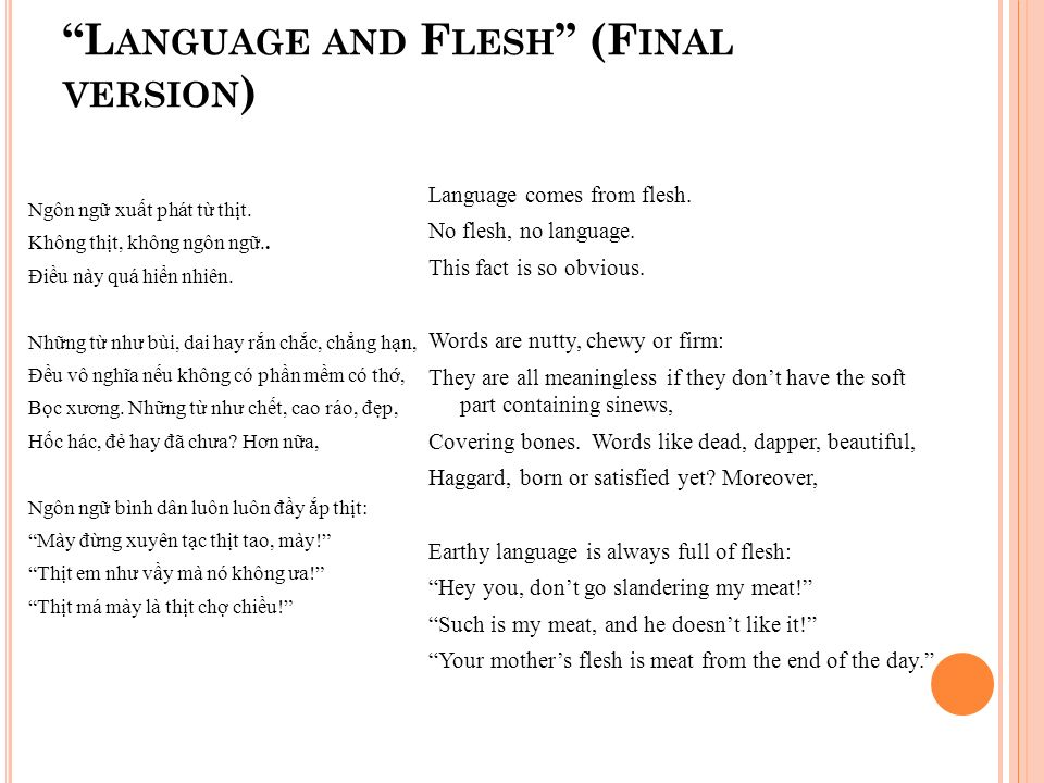 L ANGUAGE AND F LESH (F INAL VERSION ) Ngôn ng xu t phát t th t.