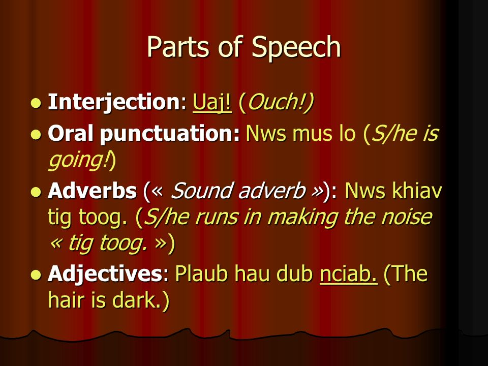 Parts of Speech Interjection: Uaj! (Ouch!) Interjection: Uaj! (Ouch!) Oral punctuation: Nws m Oral punctuation: Nws mus lo (S/he is going!) Adverbs («