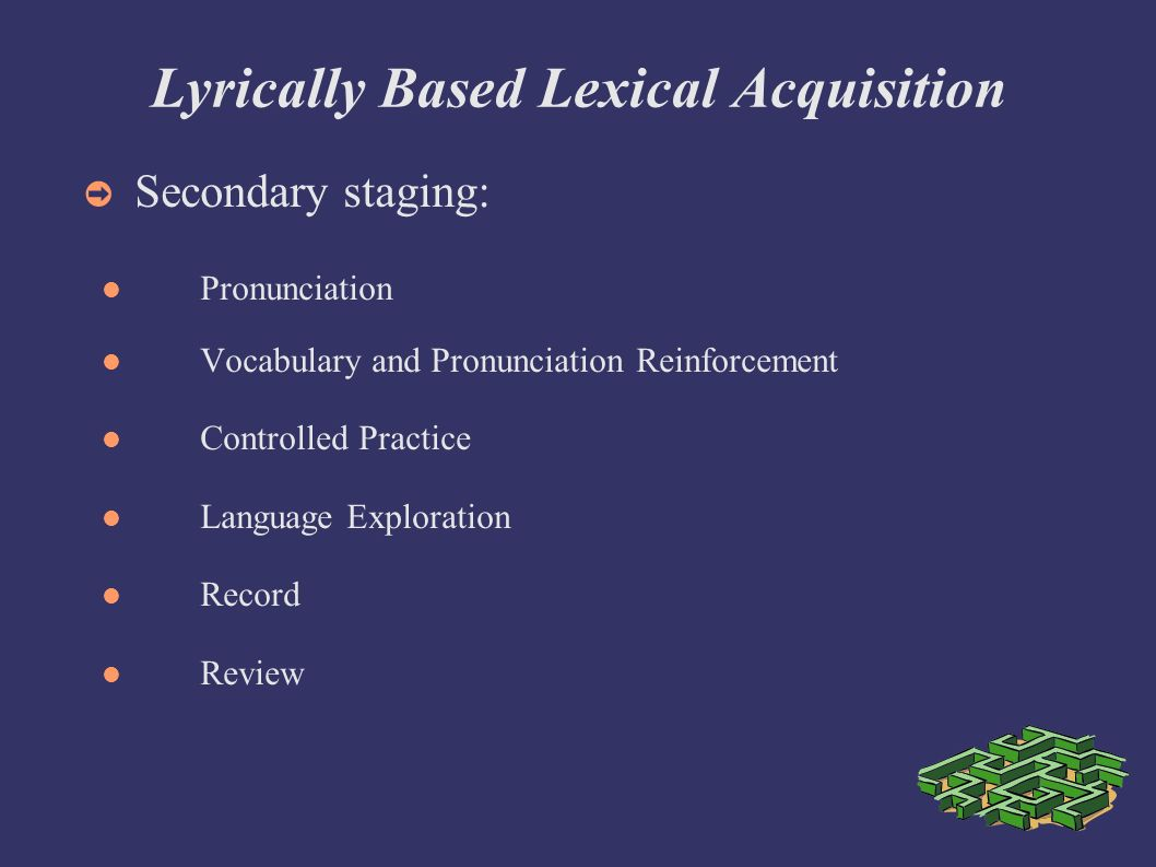 Lyrically Based Lexical Acquisition Secondary staging: Pronunciation Vocabulary and Pronunciation Reinforcement Controlled Practice Language Exploration Record Review