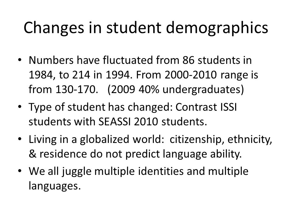 Changes in student demographics Numbers have fluctuated from 86 students in 1984, to 214 in 1994. From 2000-2010 range is from 130-170. (2009 40% unde