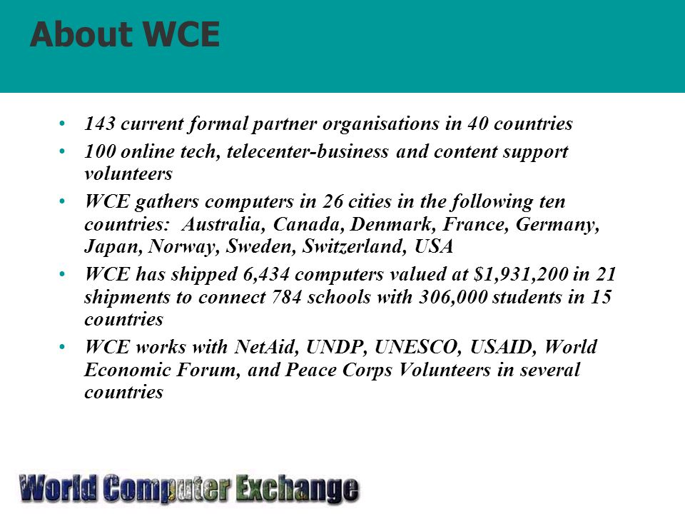 About WCE 143 current formal partner organisations in 40 countries 100 online tech, telecenter-business and content support volunteers WCE gathers computers in 26 cities in the following ten countries: Australia, Canada, Denmark, France, Germany, Japan, Norway, Sweden, Switzerland, USA WCE has shipped 6,434 computers valued at $1,931,200 in 21 shipments to connect 784 schools with 306,000 students in 15 countries WCE works with NetAid, UNDP, UNESCO, USAID, World Economic Forum, and Peace Corps Volunteers in several countries
