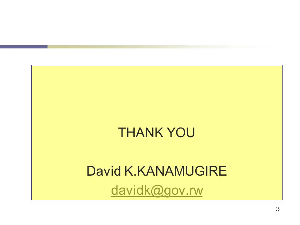 35 THANK YOU David K.KANAMUGIRE davidk@gov.rw