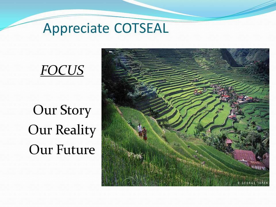 Appreciate COTSEAL FOCUS Our Story Our Reality Our Future