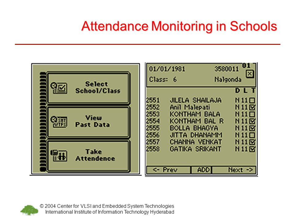 © 2004 Center for VLSI and Embedded System Technologies International Institute of Information Technology Hyderabad Attendance Monitoring in Schools