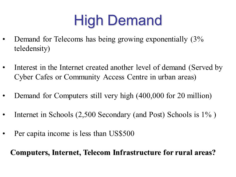 High Demand Demand for Telecoms has being growing exponentially (3% teledensity) Interest in the Internet created another level of demand (Served by C