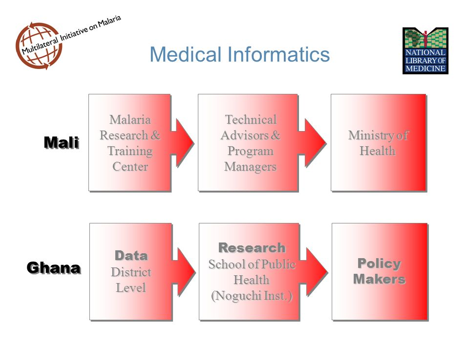 Medical Informatics Mali Malaria Research & Training Center Technical Advisors & Program Managers Ministry of Health Ghana Data District Level Research School of Public Health (Noguchi Inst.) Policy Makers