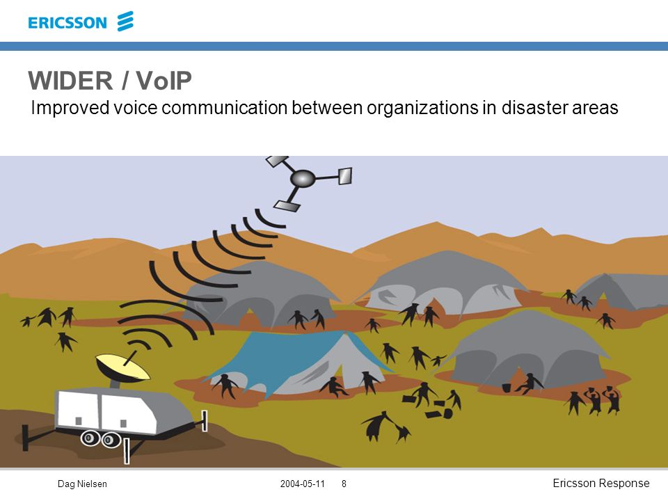 Dag Nielsen Ericsson Response WIDER / VoIP Improved voice communication between organizations in disaster areas
