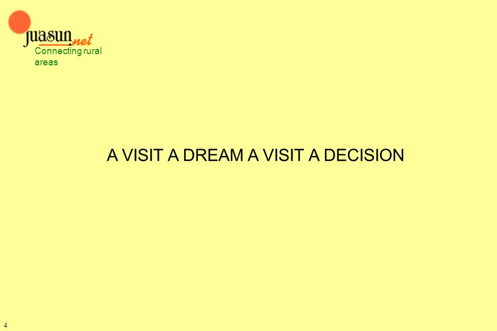 A VISIT A DREAM A VISIT A DECISION Connecting rural areas 4