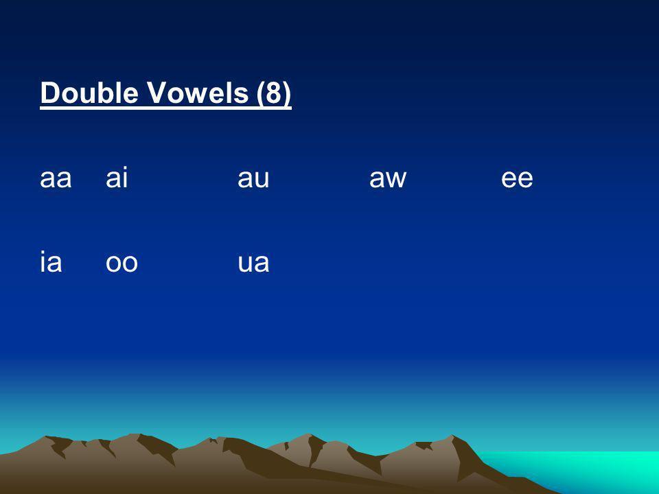 Moob Ntsuab: aa, dl, ndl, dlh, ndlh Single vowels (6) aeiouw Tone Markers: B M JV _ (no symbol) S GD