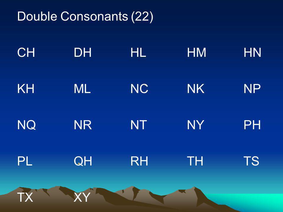 Single Consonants (17) C D F H K L M N P Q R S T V X Y Z Moob Ntsuab: aa, dl, ndl, dlh, ndlh