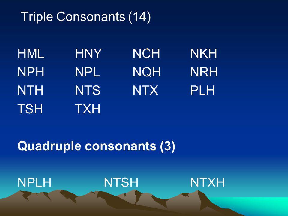 Double Consonants (22) CHDHHLHMHN KHMLNCNKNP NQNRNTNYPH PLQHRHTHTS TXXY