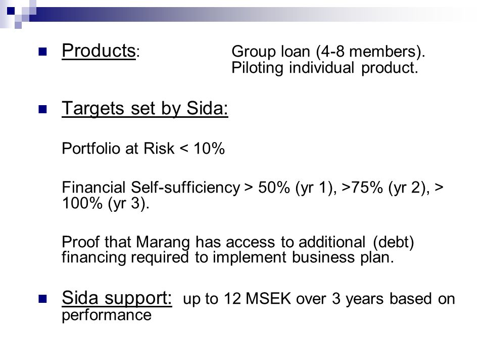 Products : Group loan (4-8 members). Piloting individual product.