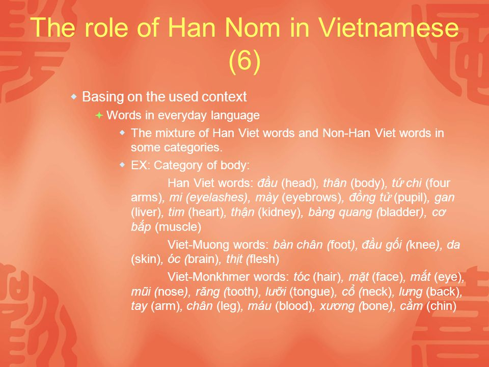 The role of Han Nom in Vietnamese (6) Basing on the used context Words in everyday language The mixture of Han Viet words and Non-Han Viet words in some categories.