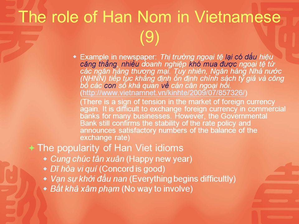The role of Han Nom in Vietnamese (9) Example in newspaper: Th trưng ngoi t li có du hiu căng thng, nhiu doanh nghip khó mua đưc ngoi t t các ngân hàng thương mi.