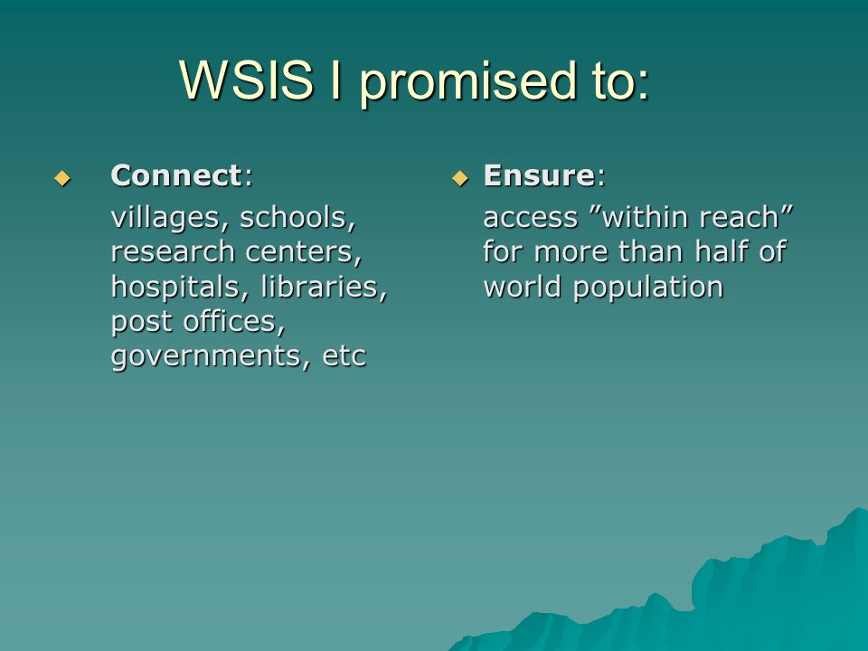 WSIS I promised to: Connect: Connect: villages, schools, research centers, hospitals, libraries, post offices, governments, etc Ensure: Ensure: access within reach for more than half of world population access within reach for more than half of world population
