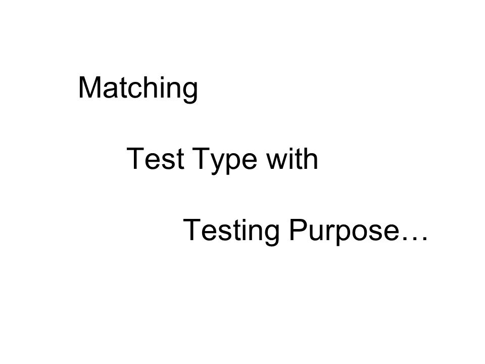 Matching Test Type with Testing Purpose…