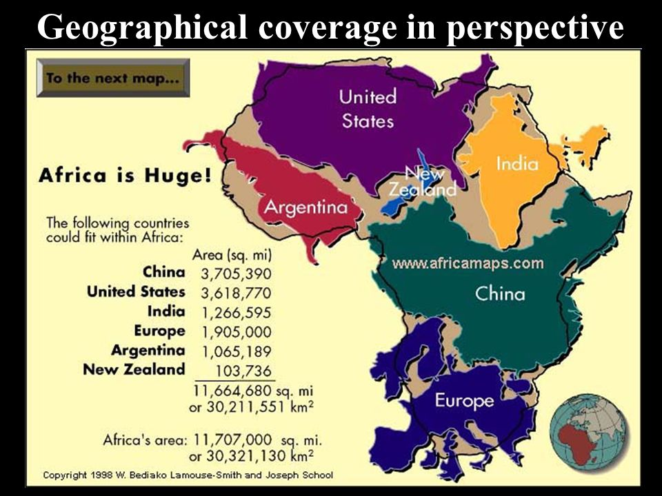 Geographical coverage in perspective