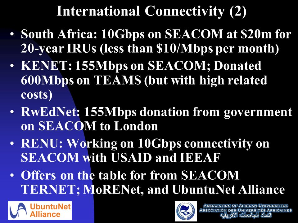 International Connectivity (2) South Africa: 10Gbps on SEACOM at $20m for 20-year IRUs (less than $10/Mbps per month) KENET: 155Mbps on SEACOM; Donated 600Mbps on TEAMS (but with high related costs) RwEdNet: 155Mbps donation from government on SEACOM to London RENU: Working on 10Gbps connectivity on SEACOM with USAID and IEEAF Offers on the table for from SEACOM TERNET; MoRENet, and UbuntuNet Alliance