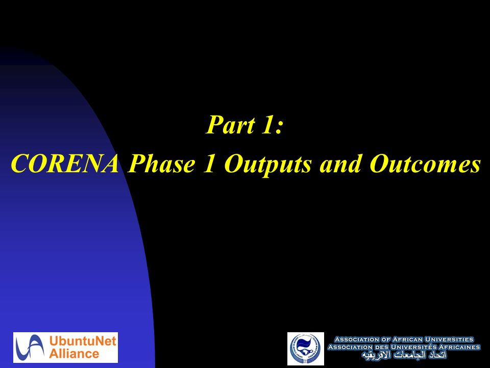 Part 1: CORENA Phase 1 Outputs and Outcomes