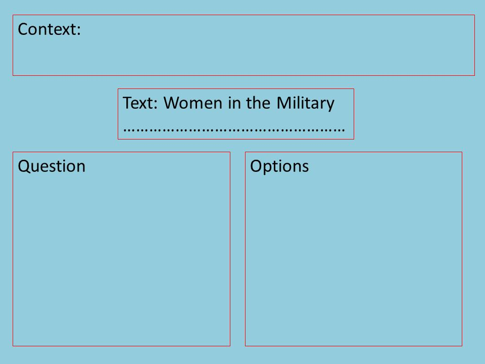 Context: Question Text: Women in the Military …………………………………………… Options