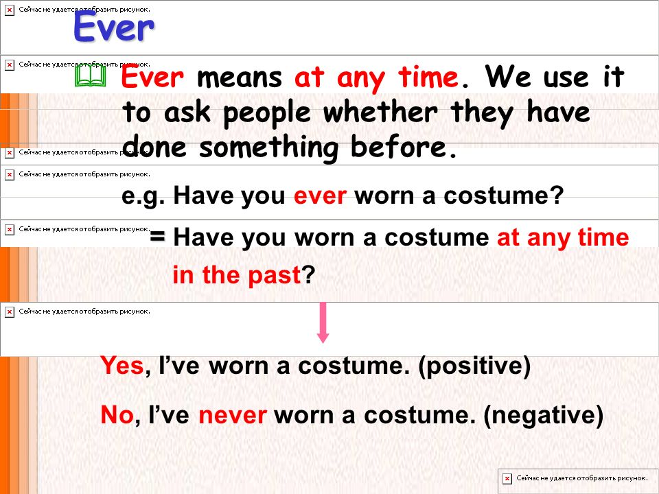Ever Ever means at any time. We use it to ask people whether they have done something before. = = Have you worn a costume at any time in the past? e.g