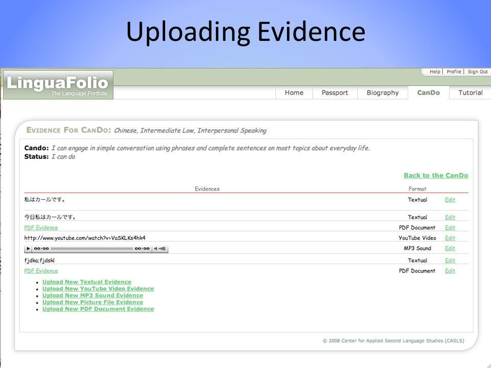 Uploading Evidence