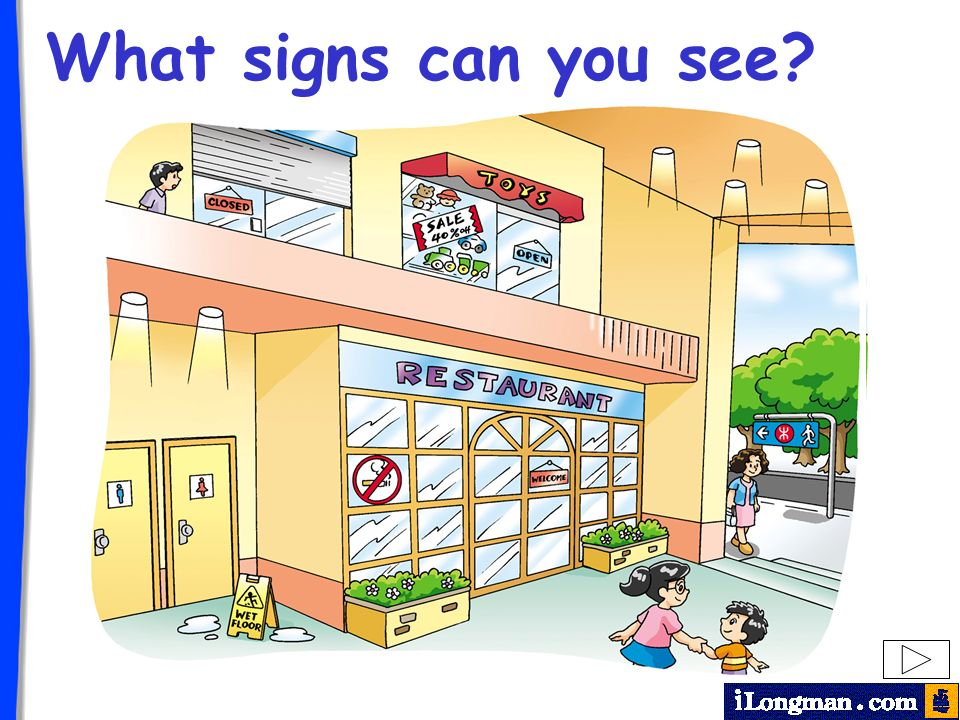 What signs can you see? Teachers Note: You can discuss the signs with students by clicking on the signs on the screen.