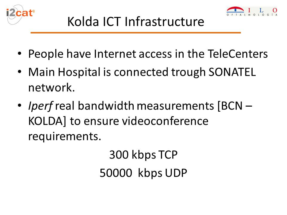 People have Internet access in the TeleCenters Main Hospital is connected trough SONATEL network.