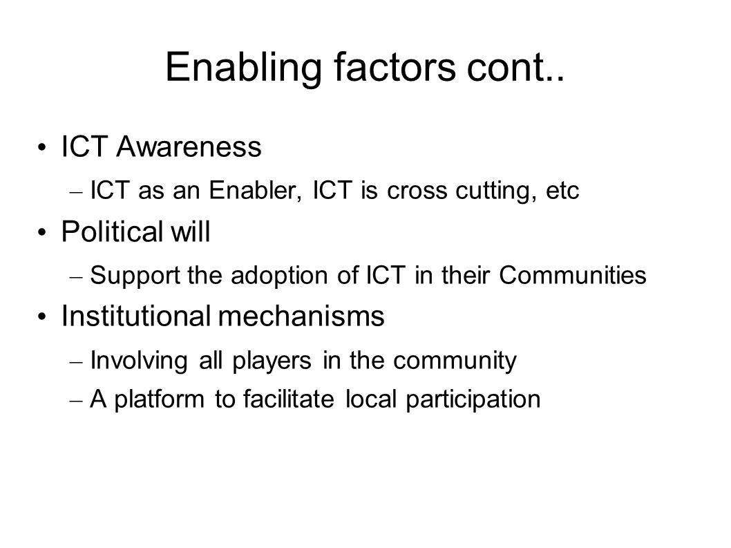 Enabling factors cont..