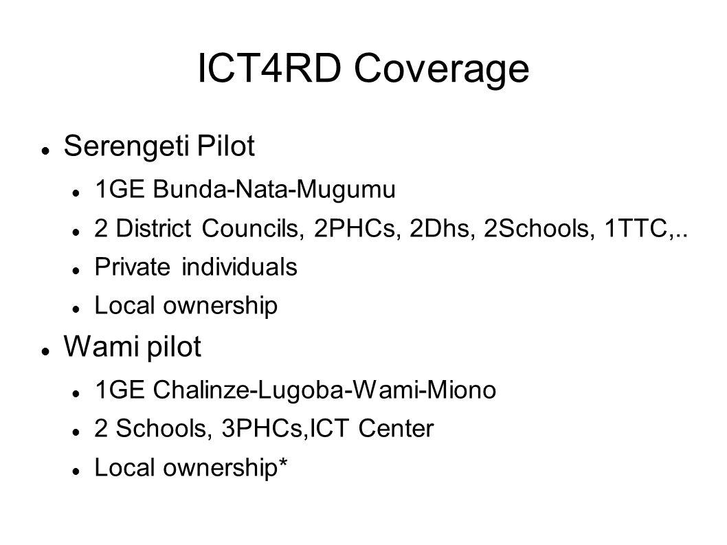 ICT4RD Coverage Serengeti Pilot 1GE Bunda-Nata-Mugumu 2 District Councils, 2PHCs, 2Dhs, 2Schools, 1TTC,.. Private individuals Local ownership Wami pil