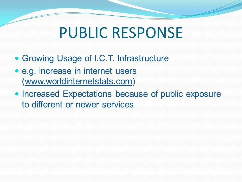 PUBLIC RESPONSE Growing Usage of I.C.T. Infrastructure e.g.
