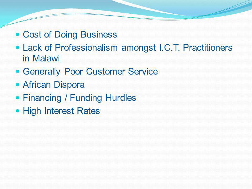 Cost of Doing Business Lack of Professionalism amongst I.C.T.