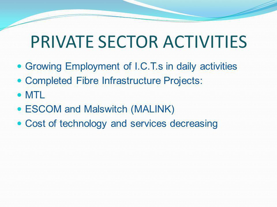 PRIVATE SECTOR ACTIVITIES Growing Employment of I.C.T.s in daily activities Completed Fibre Infrastructure Projects: MTL ESCOM and Malswitch (MALINK) Cost of technology and services decreasing