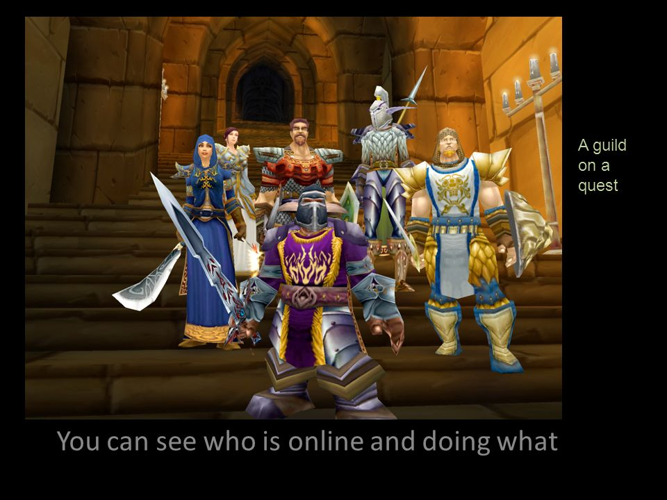 You can see who is online and doing what A guild on a quest