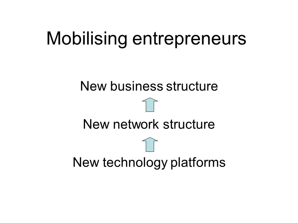 Mobilising entrepreneurs New business structure New network structure New technology platforms