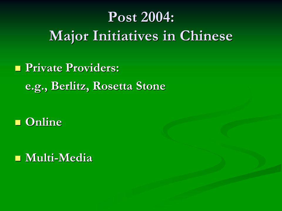 Post 2004: Major Initiatives in Chinese Private Providers: Private Providers: e.g., Berlitz, Rosetta Stone Online Online Multi-Media Multi-Media