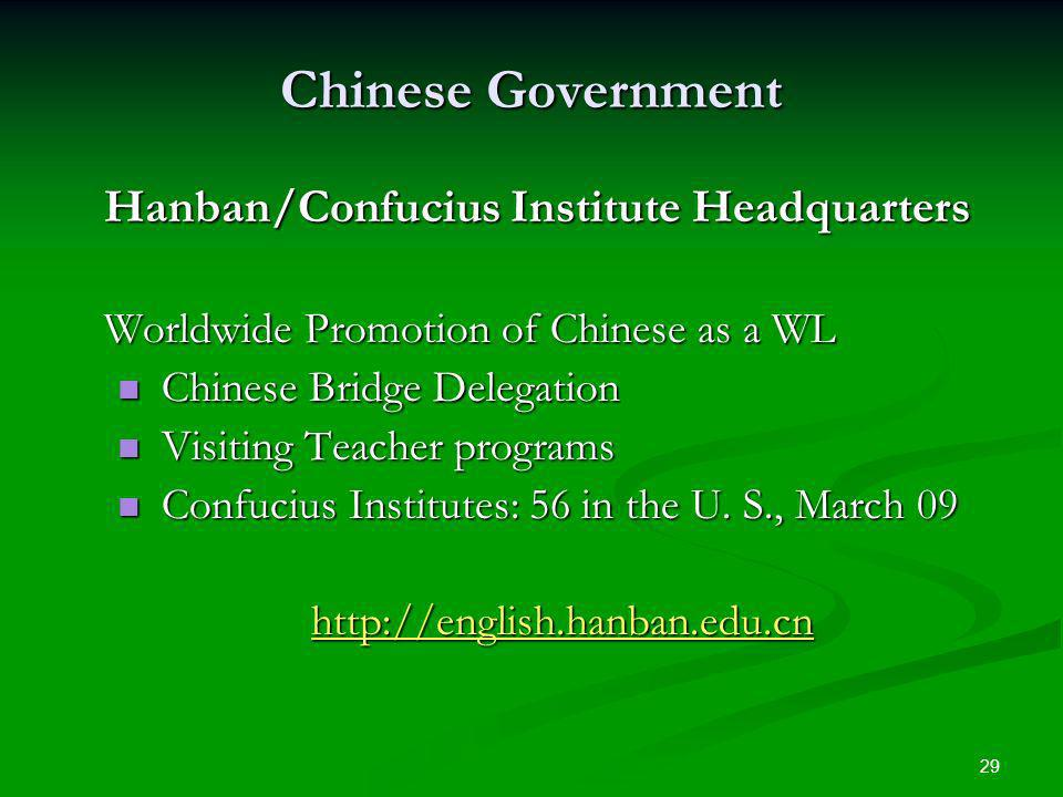 29 Chinese Government Hanban/Confucius Institute Headquarters Worldwide Promotion of Chinese as a WL Chinese Bridge Delegation Chinese Bridge Delegation Visiting Teacher programs Visiting Teacher programs Confucius Institutes: 56 in the U.