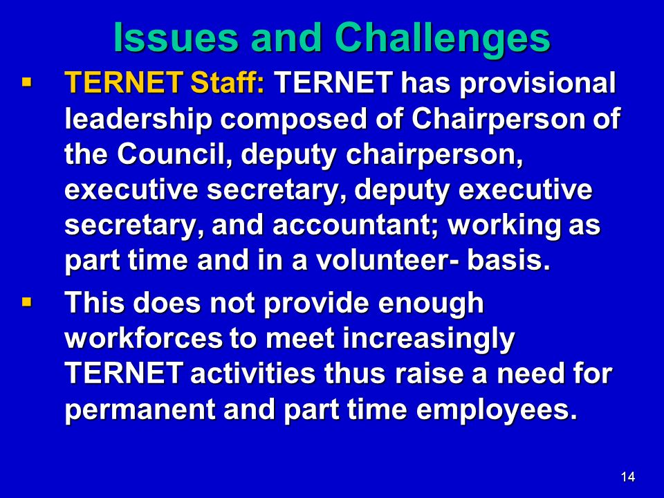 14 Issues and Challenges TERNET Staff: TERNET has provisional leadership composed of Chairperson of the Council, deputy chairperson, executive secreta